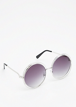 Smoky Silver Looping Retro Sunglasses