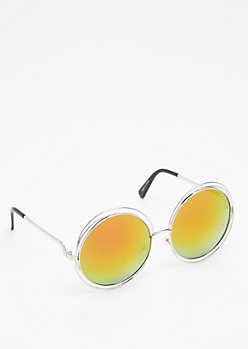 Orange Mirrored Looping Retro Sunglasses