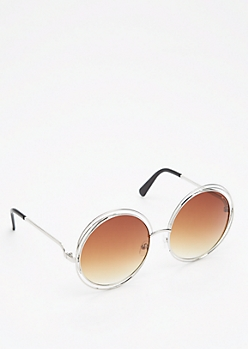 Smoky Brown Looping Retro Sunglasses