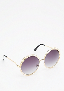 Golden Smoky Looping Retro Sunglasses