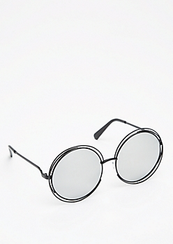 Black Mirrored Looping Retro Sunglasses