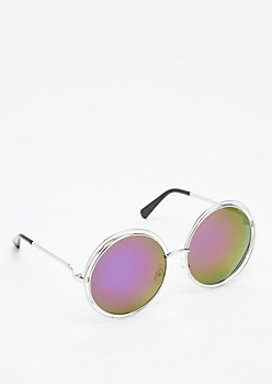 Purple Mirrored Looping Retro Sunglasses