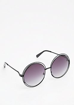 Black Looping Retro Sunglasses