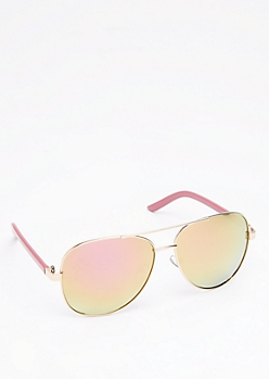 Pink & Yellow Mirror Aviators