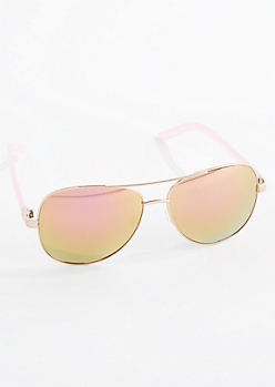 Rose Gold Plastic Arm Aviator Sunglasses