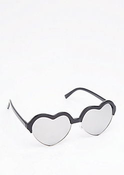 Black Sweetheart Half Frame Sunglasses