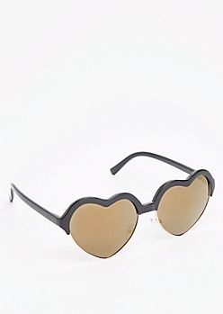 Gold Heart Half-Frame Sunglasses