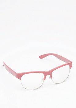 Pink Retro Half Frame Readers
