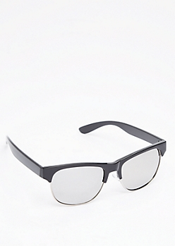 Black Retro Half Frame Sunglasses