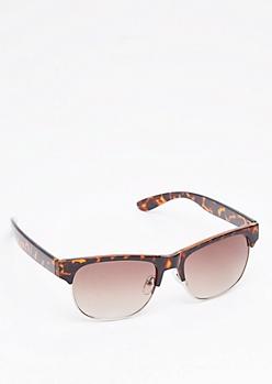 Tortoise Smoky Half Frame Sunglasses