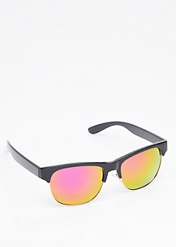 Purple & Yellow Mirror Half Frame Sunglasses