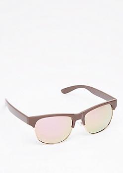 Pink Mirror Half Frame Sunglasses