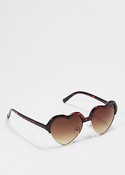 Half Frame Tortoise Heart Sunglasses