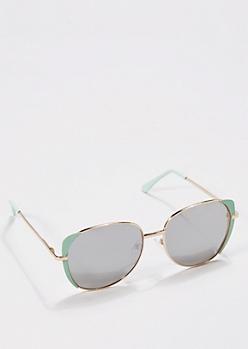 Mint Green Mirror Lens Aviators