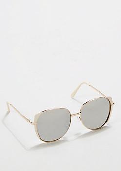 Ivory Oversized Mirror Sunglasses
