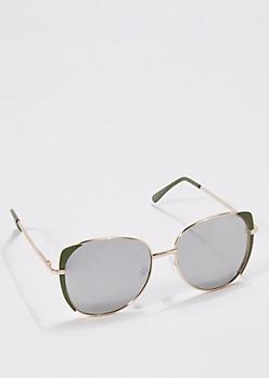 Olive Green Mirror Lens Aviators