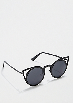 Black Rounded Cat Eyes Sunglasses