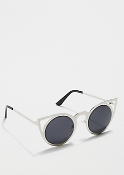 Metallic Rounded Cat Eye Sunglasses