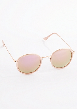 Pink Opaque Frame Round Sunglasses