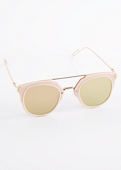 Pale Pink Square Lens Sunglasses