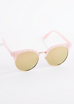 Pink Pearly Half Frame Sunglasses
