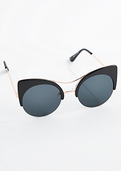 Black Round Half Frame Cat Eye Sunglasses