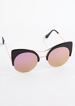 Rose Gold Round Half Frame Cat Eye Sunglasses