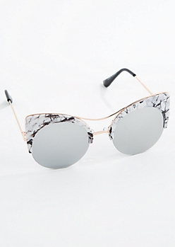 Marbled Round Half Frame Cat Eye Sunglasses