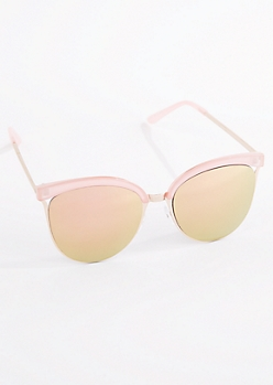 Rose Gold Oversized Half Frame Cat Eye Sunglasses