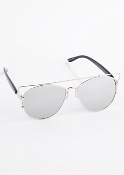 Silver Bar Temple Aviator Sunglasses