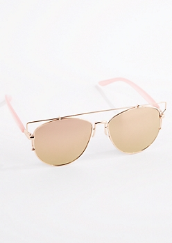 Rose Gold Bar Temple Aviator Sunglasses