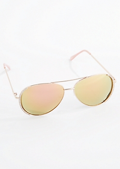 Rose Gold Diamante Aviator Sunglasses