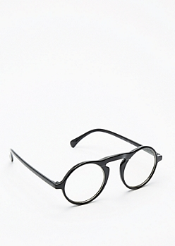 Rounded Glossy Black Glasses
