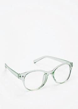 Translucent Mint Retro Glasses
