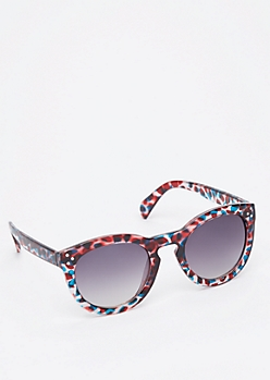 Red Marbled Keyhole Sunglasses