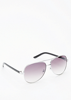 Smoky Lens Silver Aviators