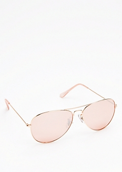 Rose Gold Wireframe Aviators