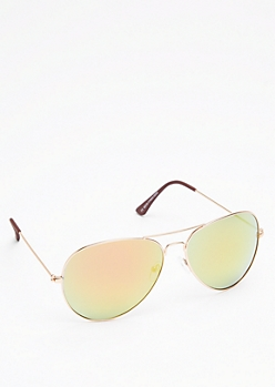 Yellow & Brown Mirror Lens Wireframe Aviators
