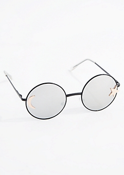 Crescent Moon & Star Rounded Sunglasses