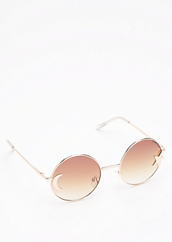 Star & Moon Round Retro Sunglasses