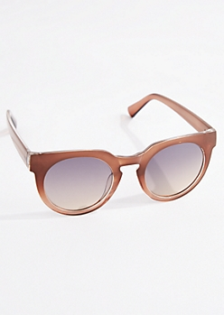 Brown Translucent Round Sunglasses