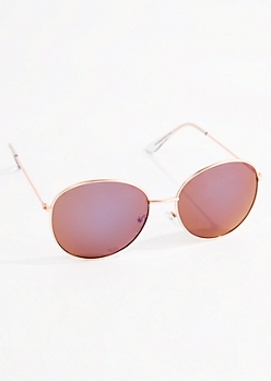 Rose Gold Purple Lens Sunglasses