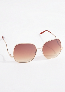 Oversized Square Wireframe Aviators