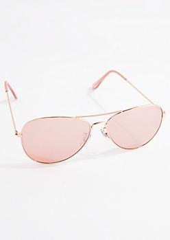 Rose Gold Wireframe Aviator Sunglasses