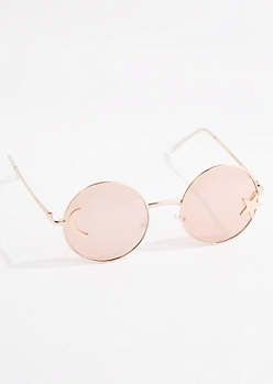 Rose Gold Celestial Round Sunglasses