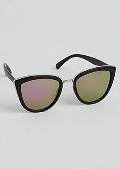 Black Matte Silver Trimmed Cat Eye Sunglasses