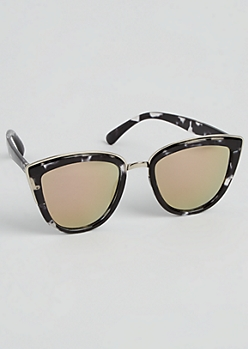 Black Marble Silver Trimmed Cat Eye Sunglasses