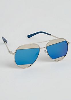 Silver Split Lens Aviators