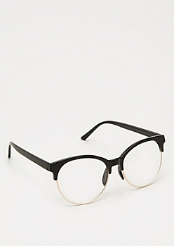 Glossy Black Half Frame Glasses