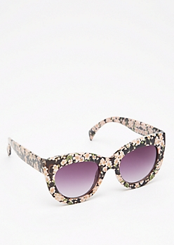 Floral Chunky Cat Eye Sunglasses